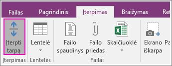 """Mygtuko Įterpti tarpą programoje """"OneNote 2016"""" ekrano nuotrauka"""