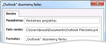"""""""Outlook"""" duomenų failo dialogo langas"""