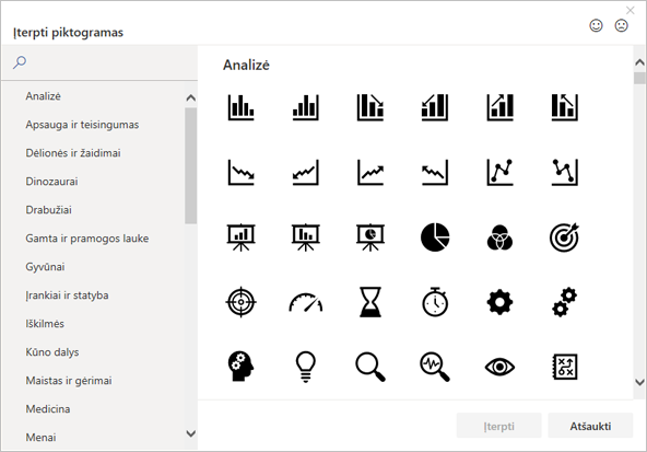 """Norimą įterpti piktogramą galite pasirinkti iš """"Office"""" piktogramų bibliotekos."""