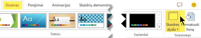 Mygtukas skaidrių dydis yra dešiniajame gale įrankių juostos juostelės skirtuko Dizainas