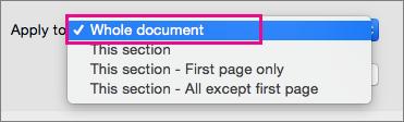 Taikyti meniu su paryškintu visu dokumentu.
