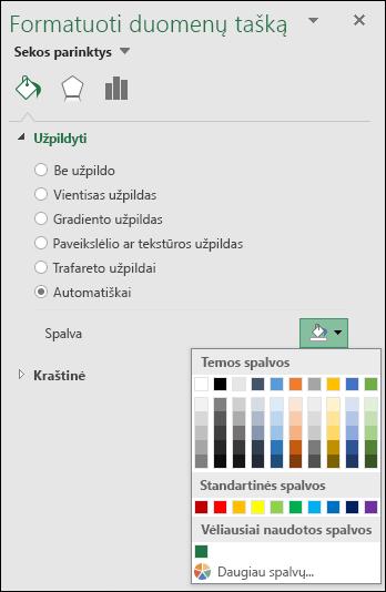 """""""Excel"""" žemėlapio diagramos spalvų parinktys diagramų kategorijos"""