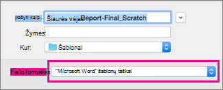 In the Save As box, Word template is highlighted