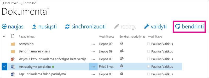 """Failo bendrinimas iš """"OneDrive"""" verslui bibliotekos"""