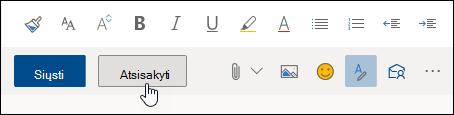 Ekrano kopija, kurioje matyti mygtukas Atmesti