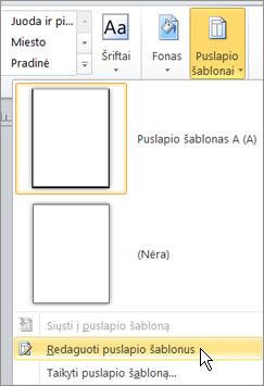 Puslapių šablonai meniu pasirinkdami puslapių šablonų redagavimas