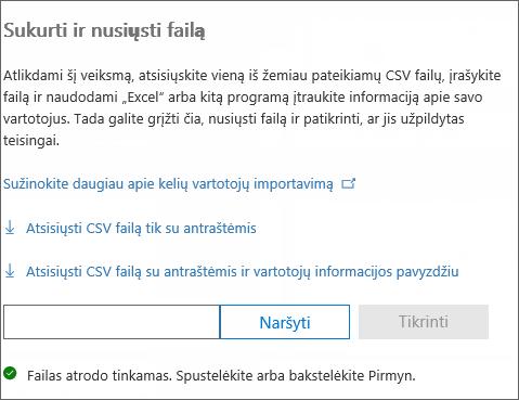 Patikrinamas CSV failas