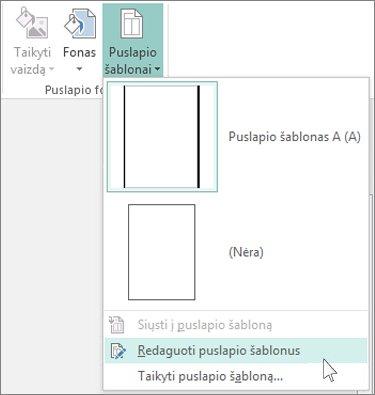 """""""Publisher"""" išplečiamojo sąrašo Puslapio šablonų redagavimas ekrano nuotrauka."""