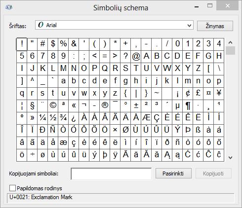 """Programos """"Windows"""" simbolių schema"""