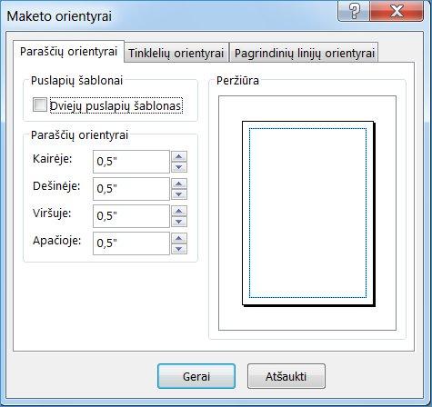 """Dialogo langas """"Publisher"""" maketo orientyrai"""