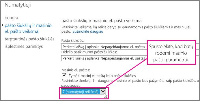 """Masinių laiškų filtro nustatymas """"Exchange Online"""""""