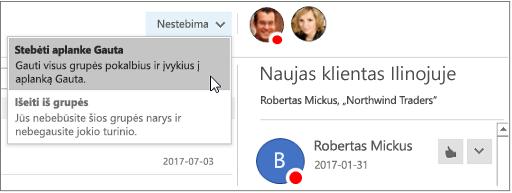 """Atsisakyti prenumeratos mygtuką grupės antraštėje programoje """"Outlook 2016"""""""