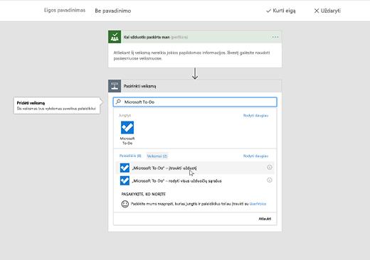 """Ekrano kopija, rodanti pasirinktą """"Microsoft To-Do"""""""