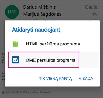 """OME peržiūros programa su """"Outlook"""", skirta """"Android 2"""""""