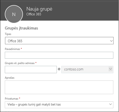"""Naujos """"Office 365"""" grupės, naujo siuntimo sąrašo arba naujos saugos grupės kūrimas"""