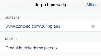 Saito komanda, rodomas URL (adresas) ir rodytinas tekstas