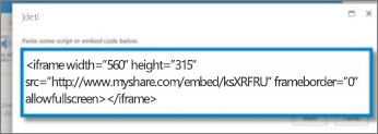 """Vaizdo įrašo """"iframe"""" įdėjimo kodo ekrano kopija buvo užfiksuota vaizdo įrašų bendrinimo svetainėje. Įdėtasis kodas yra fiktyvus."""