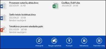 """OneDrive for Business"" veiksmų juosta"