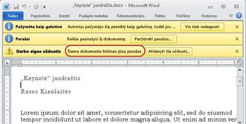 Teksto identifikavimas peržiūrėtiname elemente