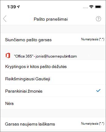 """Pranešimų įjungimas arba išjungimas """"Outlook Mobile"""""""