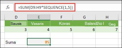 Naudokite masyvo konstantas formulėse. Šiame pavyzdyje panaudojome = SUM (D9: H (* seka (1, 5))
