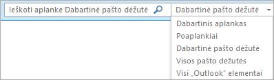 """Programoje """"Outlook"""" naudokite ieškos lauką arba pasirinkite pašto dėžučių sąrašą arba aplanką, kad surastumėte aprėpties grupę."""