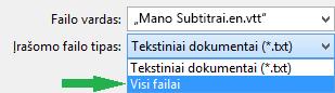 Įrašykite failą uždarytos antraštės