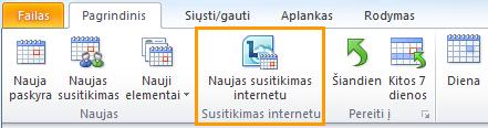 """Naujo susitikimo internetu mygtukas """"Outlook"""" kalendoriuje"""