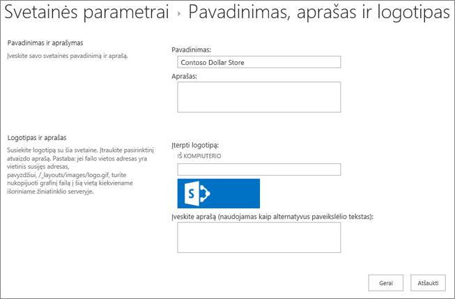 Pavadinimo, aprašo ir logotipo parametrų puslapis