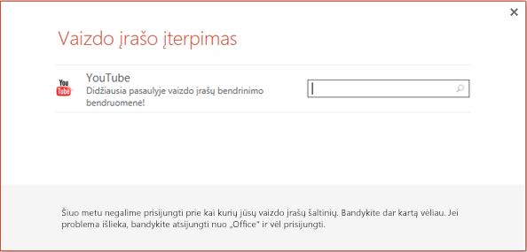 """Tai """"PowerPoint 2013"""" dialogo langas Įterpti internetinį vaizdo įrašą."""