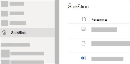 """Ekrano nuotrauka, kurioje rodomas """"OneDrive.com"""" skirtukas Šiukšlinė."""