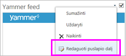 Screenshot of Yammer feed drop-down arrow control with Edit Web Part button highlighted