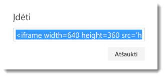 """Įdėtasis """"Office 365"""" vaizdo įrašo kodas"""