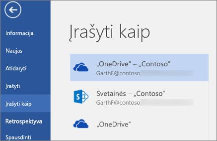 """""""Word"""" dokumento įrašymas į """"OneDrive"""" verslui"""