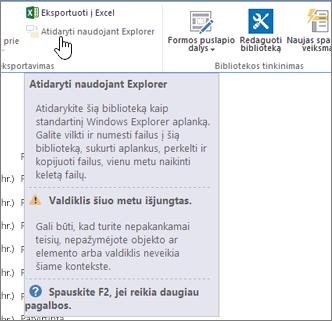 """Atidaryti su pasirinkta, bet ne """"Internet Explorer"""" parinktis įjungta."""