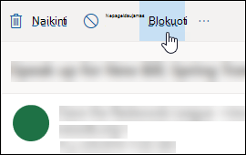 """Outlook.com"" parinkties blokuoti pranešimų"