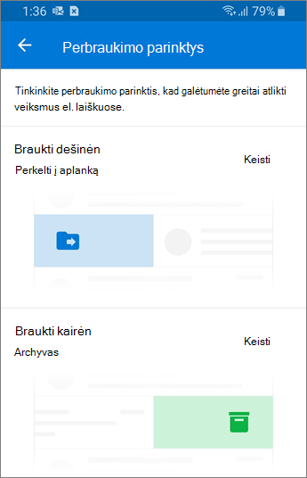 """Perbraukimo parinkčių nustatymas """"Outlook Mobile"""""""