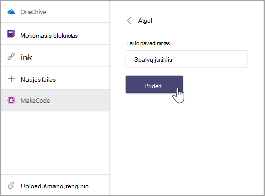 """""""MakeCode"""" failo pavadinimo sukūrimo ir failo įtraukimo į """"Microsoft Teams"""" užduotį dialogo langas"""