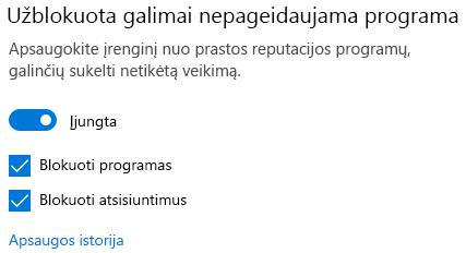 """Galimai nepageidaujamas """"Windows 10"""" programėlės blokavimo valdiklis."""