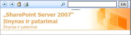 """""""SharePoint 2007"""" žinyno srities antraštė"""