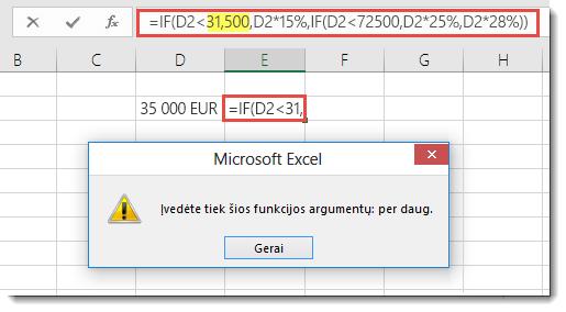 """""""Excel"""" pranešimas, kai į reikšmę įtraukiate kablelį"""