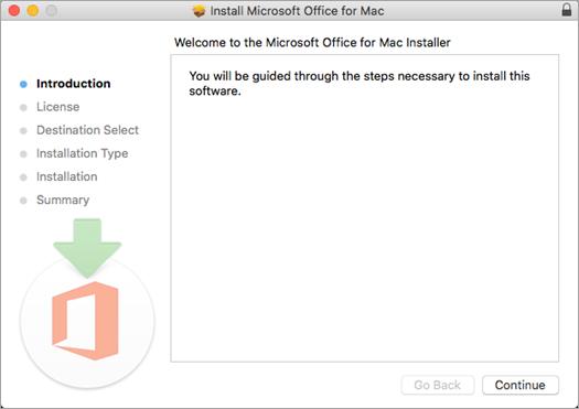 """Pirmas """"Mac 2016"""" diegimo ekranas su paryškintu Tęsti"""
