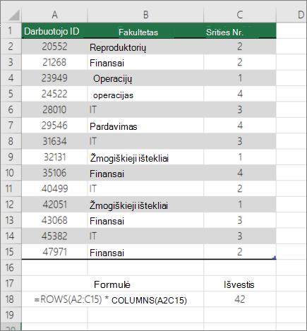 Funkcijos ROWS ir stulpeliai pavyzdys norint apskaičiuoti langelių skaičių intervale