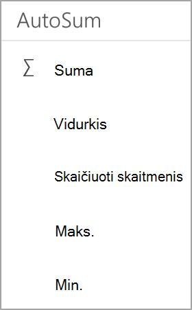"""""""Android"""" planšetinio kompiuterio """"Excel"""" suma"""