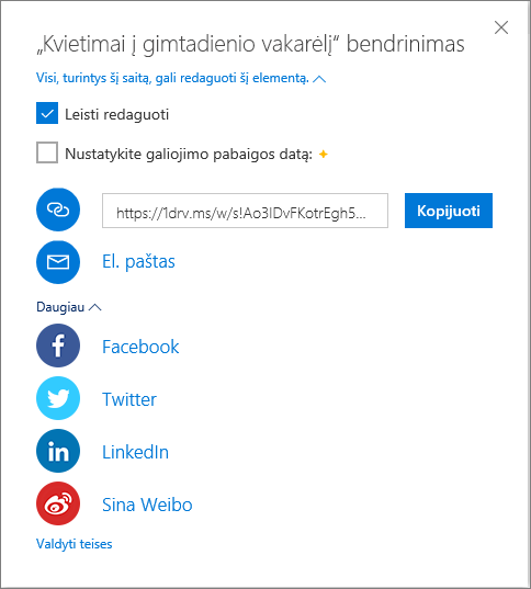 """Visos """"OneDrive"""" bendrinimo parinktys"""