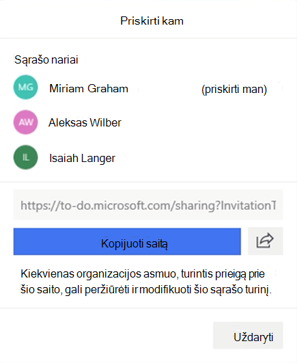 Ekrano nuotrauka, kurioje rodomas atidaryti meniu priskirti ir galimybė priskirti sąrašo nariams: Miriam Graham, Alex Wilber ir Isaiah Langer, taip pat galimybė kopijuoti ir bendrinti sąrašo saitą.