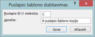Ekrano rodo dialogo langą kopijuoti puslapio šabloną.