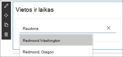 """""""SharePoint"""" svetainių pasaulio laikrodžio puslapio dalis, įvedus vietą ir pasirinkus ieškos rezultatų išplečiamąjį meniu"""
