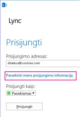 """""""Lync"""" prisijungimas su pažymėtu prisijungimo informacijos naikinimo mygtuku"""