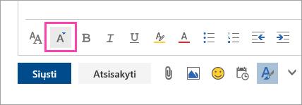 Ekrano nuotrauka mygtukas šrifto dydis